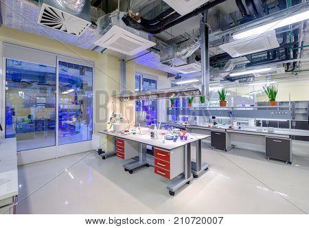 Skolokovo, Russia - October 16, 2017: Modern scientific laboratory interior at Skolkovo Technopark