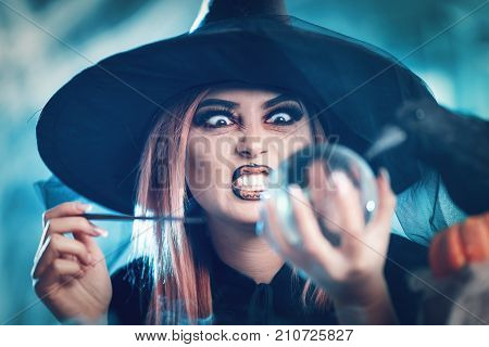 Witch Watching The Future In Magic Ball