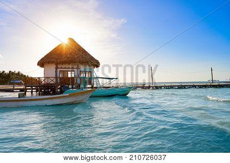 Holbox Island pier hut palapa in Quintana Roo of Mexico