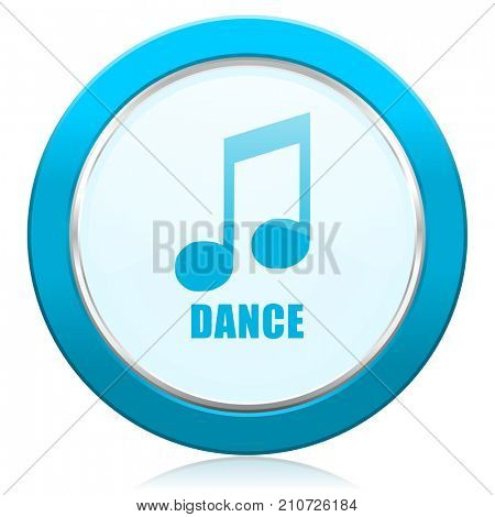Dance music blue chrome silver metallic border web icon. Round button for internet and mobile phone application designers.
