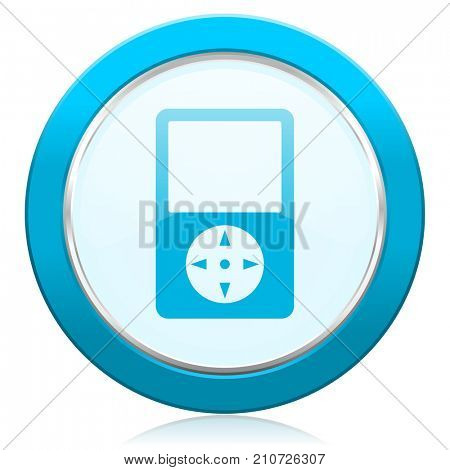 Multimedia player blue chrome silver metallic border web icon. Round button for internet and mobile phone application designers.
