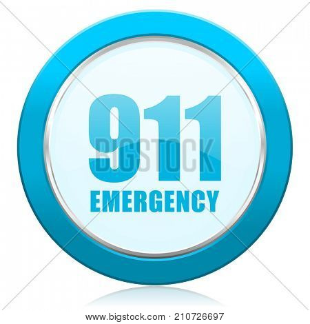 Number emergency 911 blue chrome silver metallic border web icon. Round button for internet and mobile phone application designers.