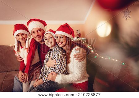 Happy Family At Christmas Holiday