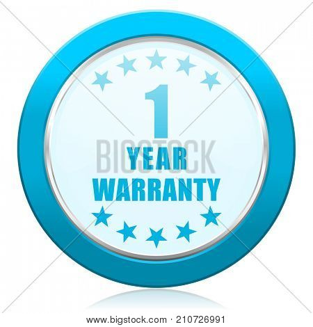 Warranty guarantee 1 year blue chrome silver metallic border web icon. Round button for internet and mobile phone application designers.
