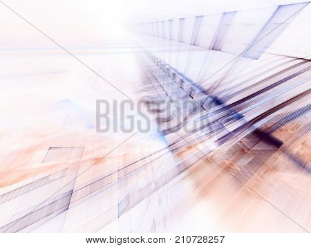 Abstract multicolor background element on white. Fractal graphics series. Three-dimensional composition of intersecting grids and blurs. Motion and technology concept.