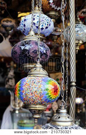 SOUQ WAQIF, DOHA, QATAR - OCTOBER 23, 2017: lanterns on sale in  Souq Waqif, Qatar, Arabia.