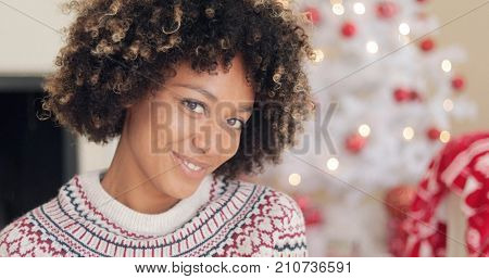 Pretty young African woman with an afro hairstyle smiling at the camera as she poses in her living room in front of a Christmas tree  close up head shot.