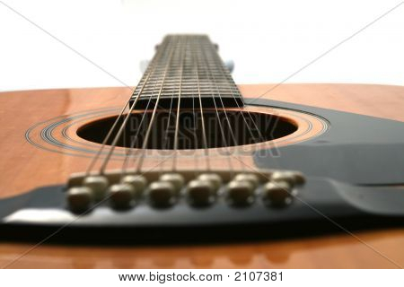 12 String Guitar Looking From Bridge To Neck