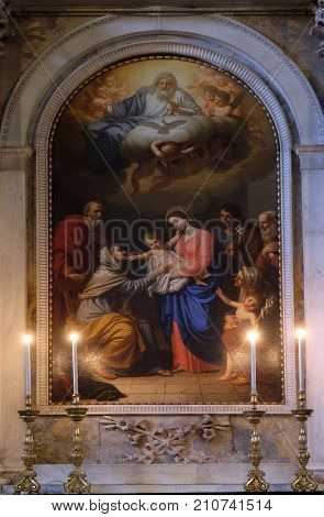 LUCCA, ITALY - JUNE 03: Saint Anna adores the Child by Stefano Tofanelli, Basilica of Saint Frediano, Lucca, Tuscany, Italy on June 03, 2017.
