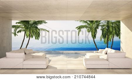 Luxury modern living area in a tropical villa with white lounge site and view over the ocean and palm trees. 3d rendering