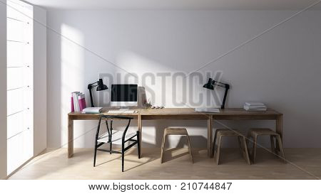 Computer and lamps at empty workstation in minimalist bright room with large windows. 3d rendering