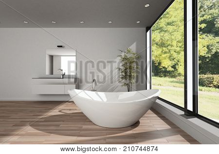Modern spacious minimalist bathroom with a large boat shaped bathtub on a wood floor with vanity and mirror overlooking a large garden with trees. 3d rendering