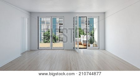 Spacious bright unfurnished room with large glass door. 3d rendering