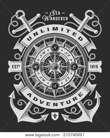 Vintage Unlimited Adventure Typography On Black Background