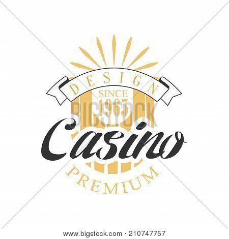 Casino premium logo design, colorful vintage gambling badge or emblem since 1965 vector Illustration on a white background