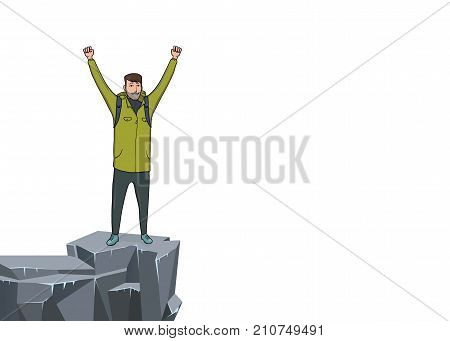 A young happy man with raised hands on the edge of the cliff. Mountain hiker, Explorer, mountaineer. A symbol of success. Vector Illustration with copy space on white background.