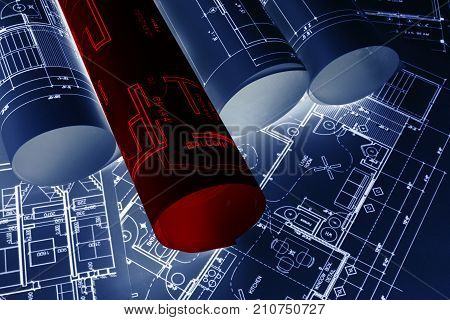 House blueprints blue print style floor plans on architects desk blueprint of a house from a high angle engineering drawings blueprints and red house plan blueprints rolled up