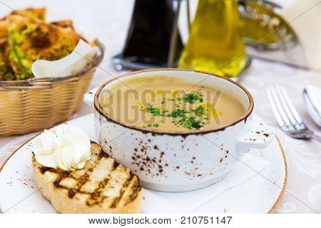 Mushroom Cream Soup With Green Parsley