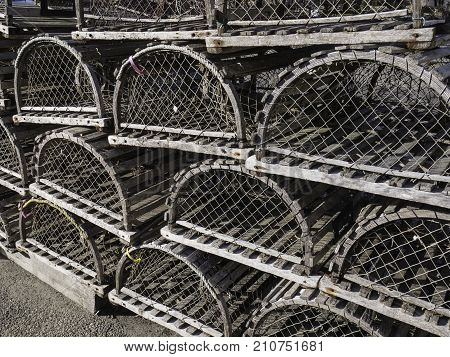 lobster traps also known as lobster pots in a stack
