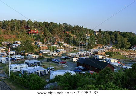 KRISTIANSAND ARCHIPELAGO, NORWAY ON JULY 01. View of a camping on the cost close to Kristiansand on July 01, 2009 in the Archipelago, Kristiansand, Norway. Editorial use.