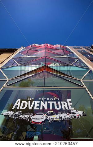 PARIS, FRANCE - JUNE 2014: Citroen car dealership office on Champs-Elysees