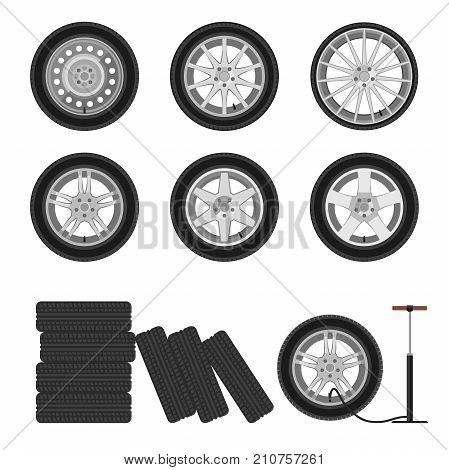 Wheels flat icons. Illustration of auto wheels and tire servise.