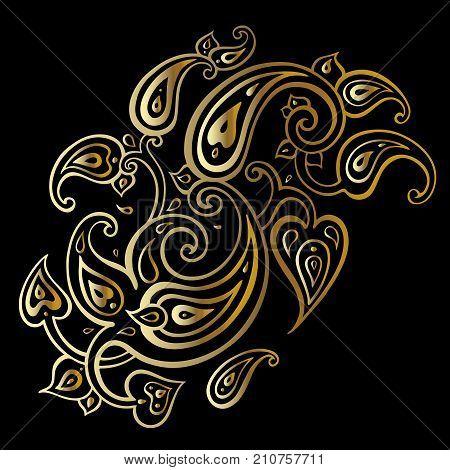 Paisley Ethnic ornament. Bohemian background. Hand Drawn pattern. Vector illustration