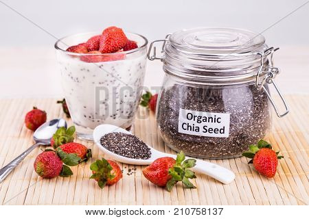 Chia Seeds Pudding With Strawberry Fruits, Healthy Nutritious Anti-oxidant Superfood.