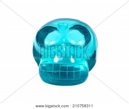 Blue green obsidian skull isolated on white background