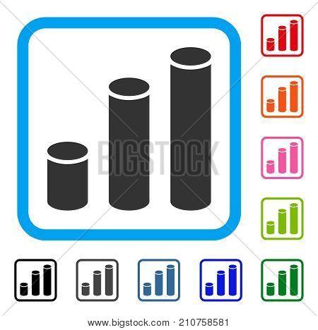 Bar Chart Cylinders icon. Flat grey pictogram symbol inside a light blue rounded rectangular frame. Black, gray, green, blue, red, orange color variants of Bar Chart Cylinders vector.