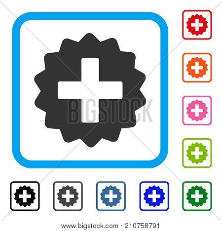 Create icon. Flat gray iconic symbol in a light blue rounded squared frame. Black, gray, green, blue, red, orange color additional versions of Create vector. Designed for web and software UI.