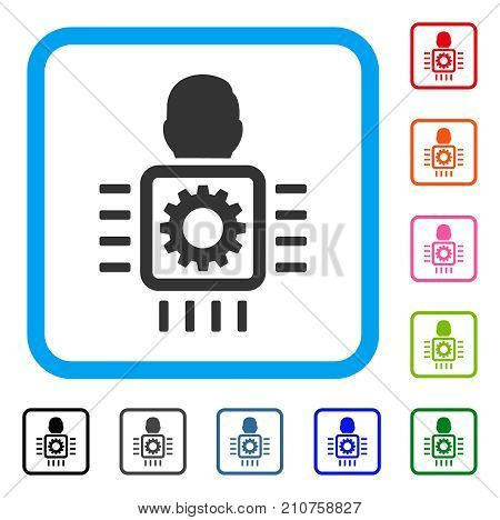 Cyborg Processor icon. Flat grey pictogram symbol inside a light blue rounded square. Black, gray, green, blue, red, orange color versions of Cyborg Processor vector.