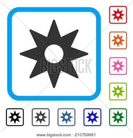 New Star Sticker icon. Flat gray iconic symbol in a light blue rounded squared frame. Black, gray, green, blue, red, orange color versions of New Star Sticker vector.