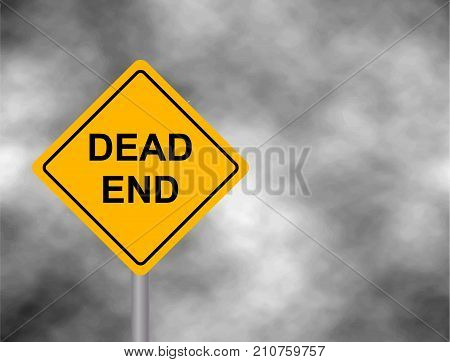 Dead End Traffic bord isolated in sky background. Wrong way road sign prohibition icon illustration. Street / Road Sign : Dead End. Vector illustration