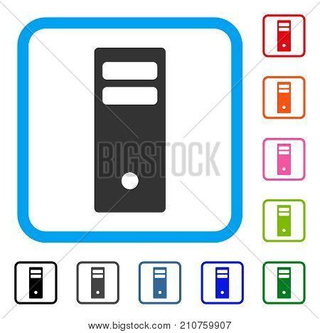 Server Mainframe icon. Flat gray pictogram symbol inside a light blue rounded frame. Black, gray, green, blue, red, orange color variants of Server Mainframe vector.