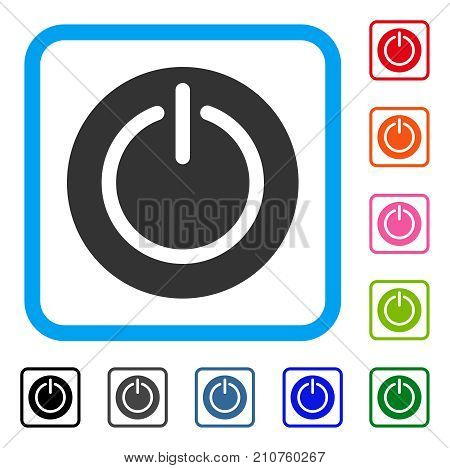 Turn Off Power icon. Flat gray iconic symbol inside a light blue rounded rectangle. Black, gray, green, blue, red, orange color variants of Turn Off Power vector.