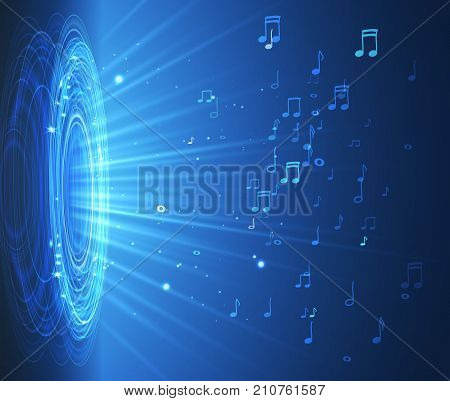 Dinamic With Lights And Notes on Blue Background, Abstract Musical Illustration. Vector