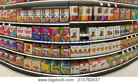 Alameda CA - October 08 2017: Grocery store shelf with boxes of various brands of breakfast cereal.