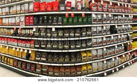 Alameda CA - October 10 2017: Grocery store isle with packages of various brands of coffee beans and ground coffee. Coffee represents 75 percent of all the caffeine consumed in the United States.