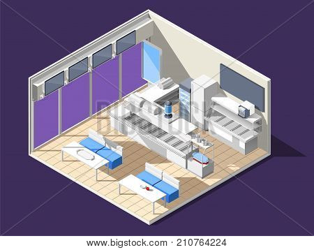 Fast food self service restaurant isometric interior composition with cafe room tables chairs and glass case vector illustration