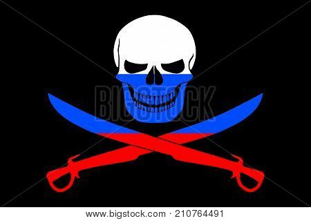 Black pirate flag with the image of Jolly Roger with cutlasses combined with colors of the Russian flag