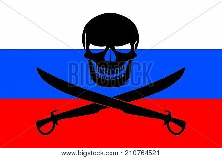 Russian flag combined with the black pirate image of Jolly Roger with cutlasses