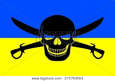 Ukrainian flag combined with the black pirate image of Jolly Roger with cutlasses