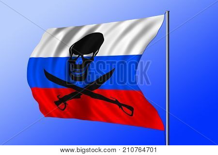 Waving Russian flag combined with the black pirate image of Jolly Roger with cutlasses