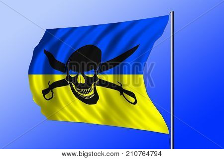 Waving Ukrainian flag combined with the black pirate image of Jolly Roger with cutlasses
