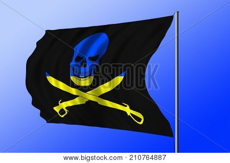 Waving black pirate flag with the image of Jolly Roger with cutlasses combined with colors of the Ukrainian flag