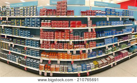 Alameda CA - October 16 2017: Store shelf with over the counter (OTC) pain relief products. The most common types of OTC pain medicines are acetaminophen and nonsteroidal anti-inflammatory