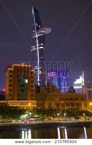 HO SHI MINH sity, VIETNAM - DECEMBER 20, 2015: Bitexco Financial Tower in the night landscape