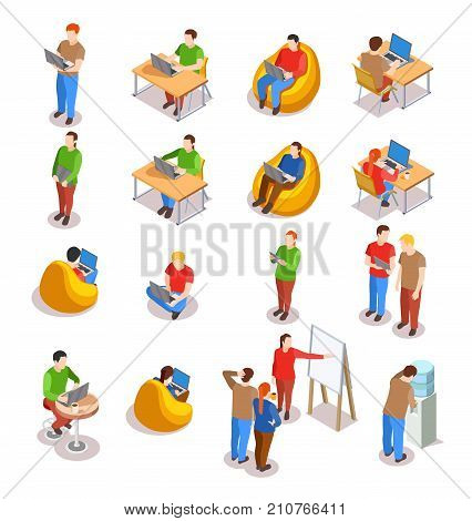 Coworking people isometric icons collection of isolated human figures in open space office with laptop computers vector illustration