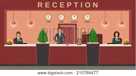 Reception service. Hotel employees welcome guests on their workplace with christmas design. Business office receptionists. Flat vector illustration.